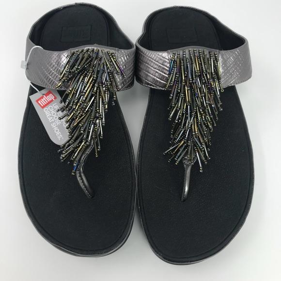 c006f60c7b28 Fit-flop Cha Cha Beaded Silver Thong Sandals